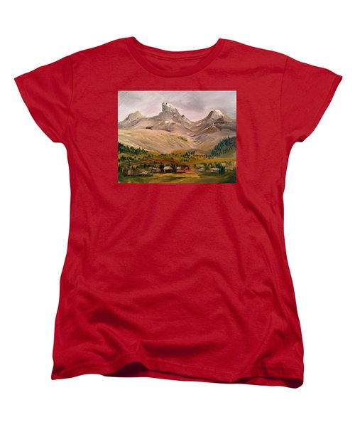 Tetons From The West Women's T-Shirt (Standard Cut) by Larry Hamilton