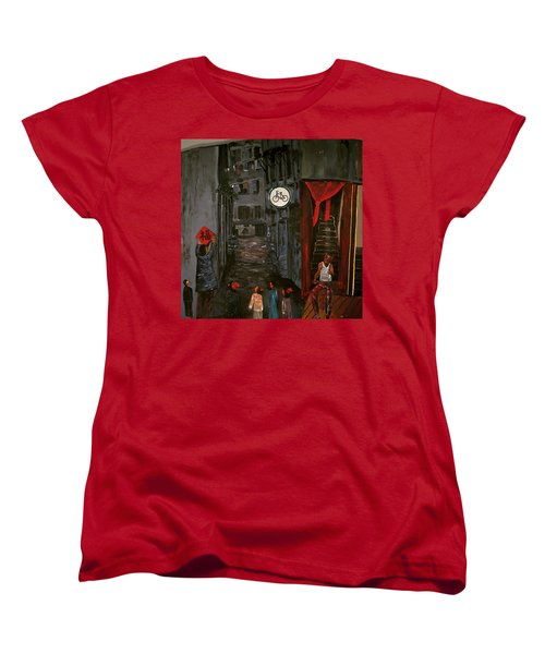 Women's T-Shirt (Standard Cut) featuring the painting The Backlane by Belinda Low