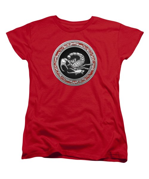 Treasure Trove - Sacred Silver Scorpion On Red Women's T-Shirt (Standard Cut) by Serge Averbukh