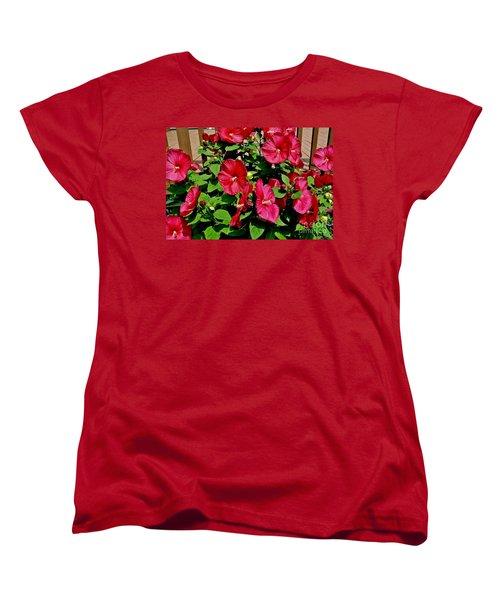 Tropical Red Hibiscus Bush Women's T-Shirt (Standard Cut) by Marsha Heiken