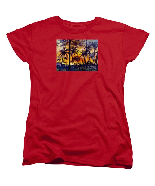 Tropical Sunset Women's T-Shirt (Standard Cut) by Lou Ann Bagnall