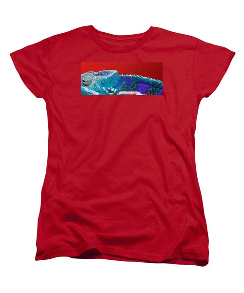 Turquoise Chameleon On Red Women's T-Shirt (Standard Cut) by Serge Averbukh