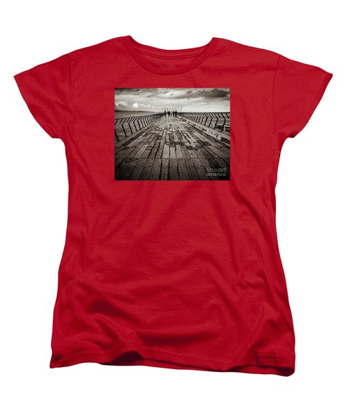 Women's T-Shirt (Standard Cut) featuring the photograph Walking The Pier by Perry Webster