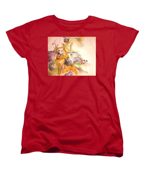 Women's T-Shirt (Standard Cut) featuring the painting Dogs  Dogs  Dogs  Album  by Debbi Saccomanno Chan