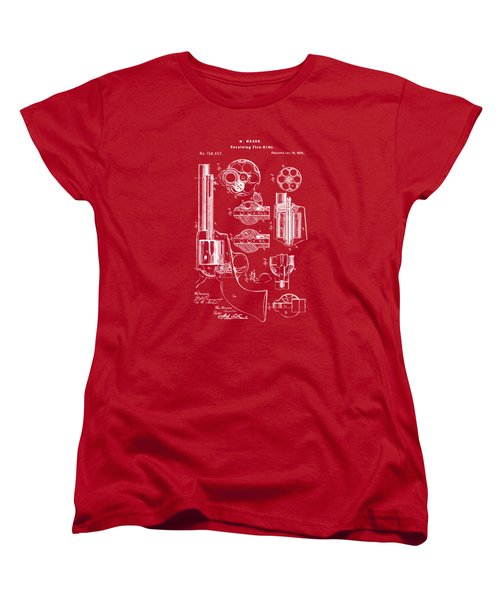 Women's T-Shirt (Standard Cut) featuring the drawing 1875 Colt Peacemaker Revolver Patent Red by Nikki Marie Smith