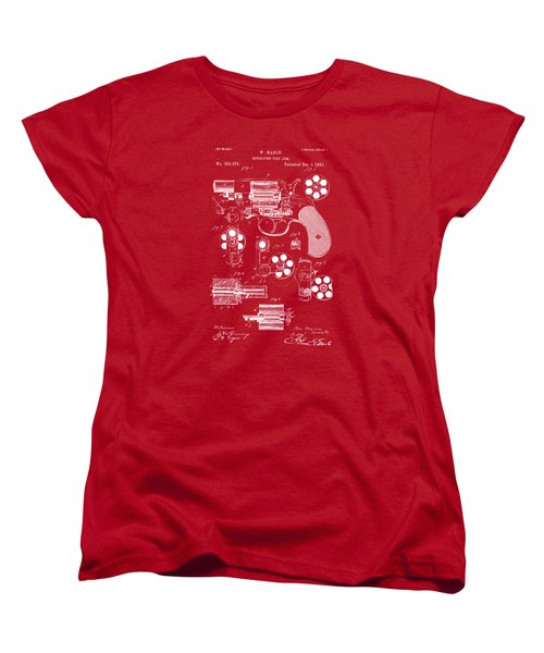 Women's T-Shirt (Standard Cut) featuring the drawing 1881 Colt Revolving Fire Arm Patent Artwork Red by Nikki Marie Smith