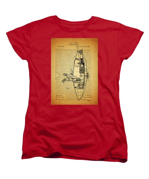 1884 Submarine Ship Patent Women's T-Shirt (Standard Cut) by Dan Sproul