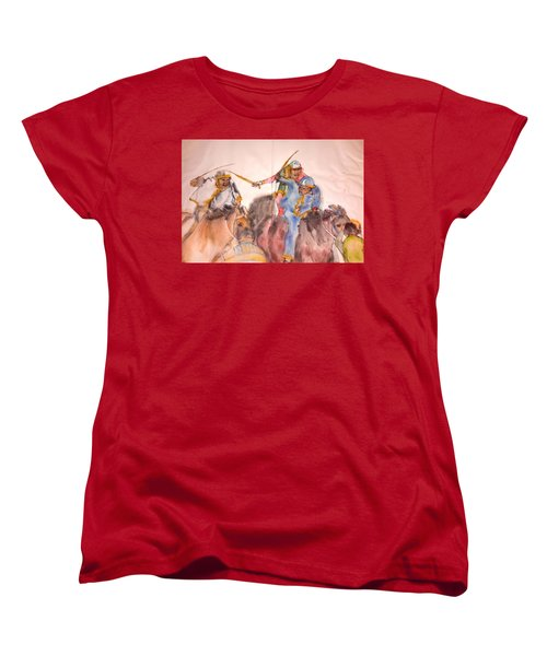 Women's T-Shirt (Standard Cut) featuring the painting Il Palio Contrada  Lupa Album by Debbi Saccomanno Chan