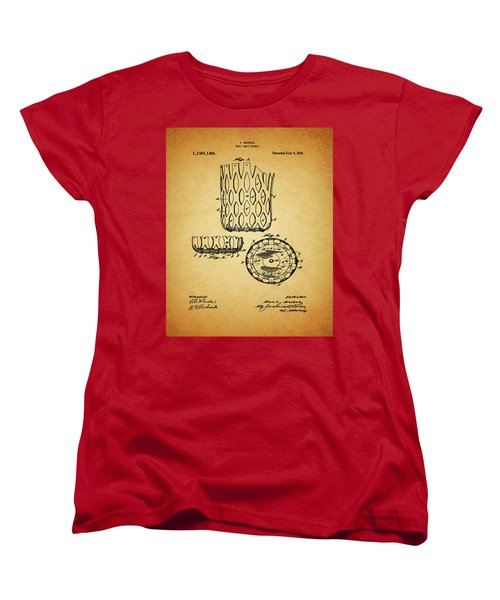 Women's T-Shirt (Standard Cut) featuring the mixed media 1916 Pool Table Pocket Patent by Dan Sproul