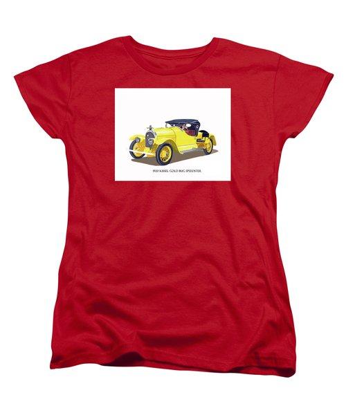 Women's T-Shirt (Standard Cut) featuring the painting 1923 Kissel Kar  Gold Bug Speedster by Jack Pumphrey