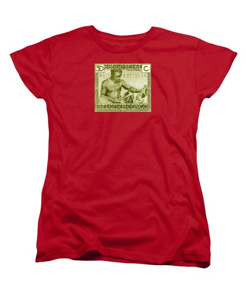 Women's T-Shirt (Standard Cut) featuring the painting 1925 Belgian Congo Native Woodcarving by Historic Image