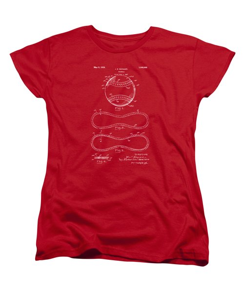 1928 Baseball Patent Artwork Red Women's T-Shirt (Standard Cut) by Nikki Marie Smith
