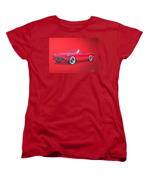 1953 Corvette Classic Vintage Sports Car Automotive Art Women's T-Shirt (Standard Cut) by John Samsen