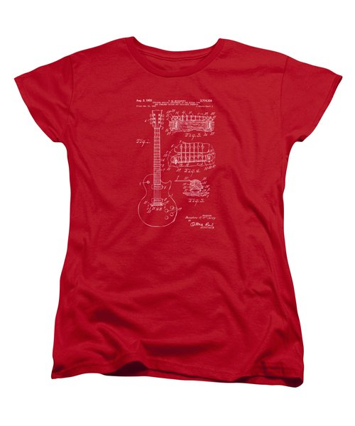 Women's T-Shirt (Standard Cut) featuring the drawing 1955 Mccarty Gibson Les Paul Guitar Patent Artwork Red by Nikki Marie Smith