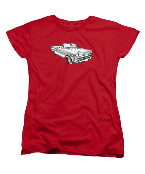 1957 Chevrolet Bel Air Convertible Illustration Women's T-Shirt (Standard Cut) by Keith Webber Jr