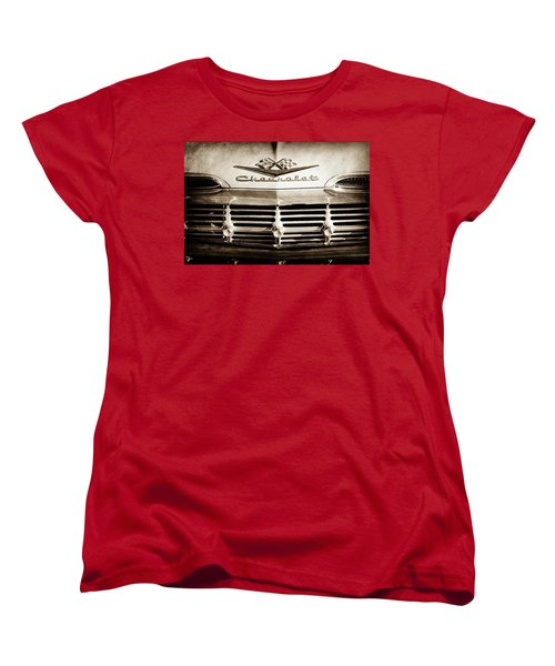 Women's T-Shirt (Standard Cut) featuring the photograph 1959 Chevrolet Impala Grille Emblem -1014s by Jill Reger