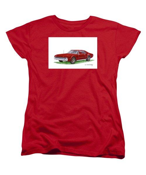 Women's T-Shirt (Standard Cut) featuring the painting 1966 Oldsmobile Toronado by Jack Pumphrey