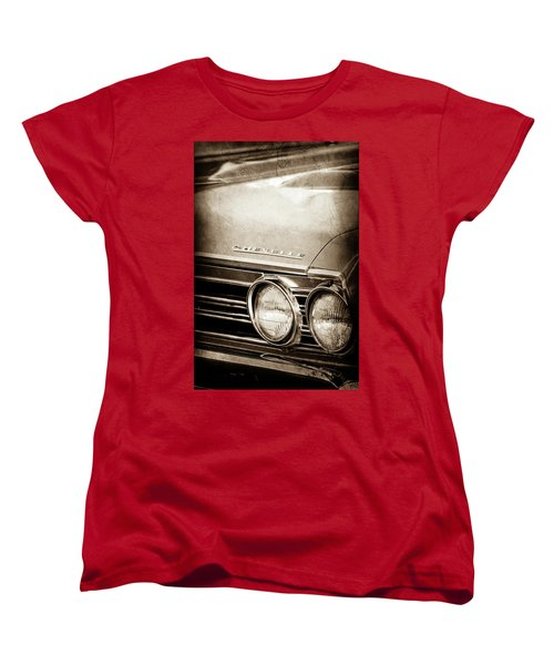 Women's T-Shirt (Standard Cut) featuring the photograph 1967 Chevrolet Chevelle Ss Super Sport Emblem -0413s by Jill Reger