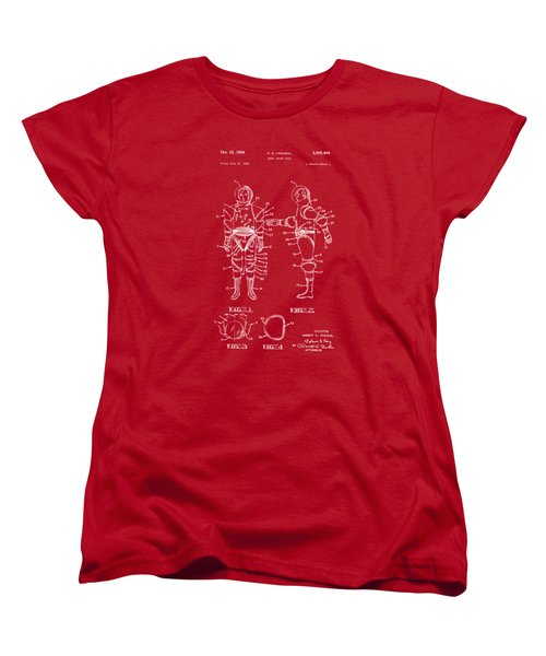 1968 Hard Space Suit Patent Artwork - Red Women's T-Shirt (Standard Cut) by Nikki Marie Smith