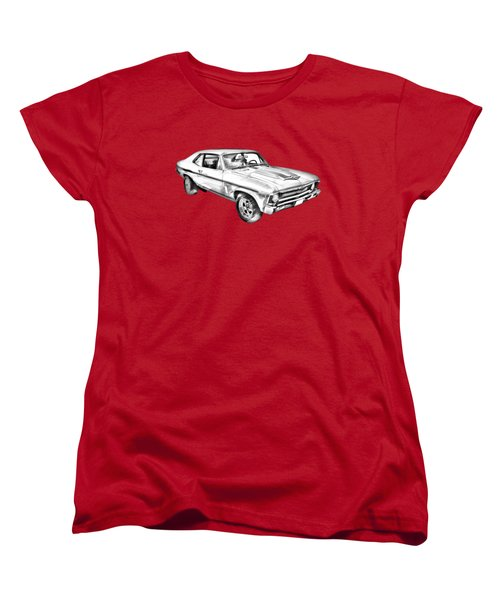 1969 Chevrolet Nova Yenko 427 Muscle Car Illustration Women's T-Shirt (Standard Cut) by Keith Webber Jr