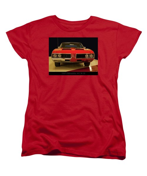 Women's T-Shirt (Standard Cut) featuring the photograph 1969 Oldsmobile 442 W-30 by Chris Flees