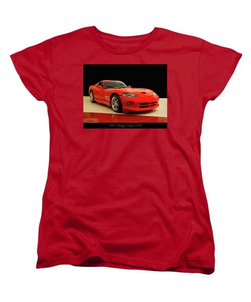 Women's T-Shirt (Standard Cut) featuring the digital art 1997 Dodge Viper Gts Red by Chris Flees