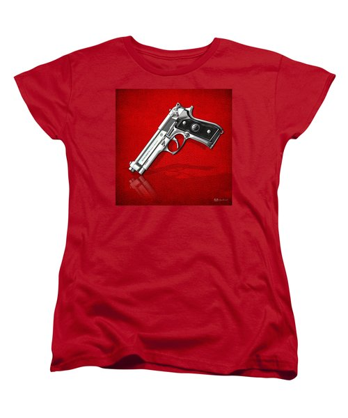 Beretta 92fs Inox Over Red Leather  Women's T-Shirt (Standard Cut) by Serge Averbukh