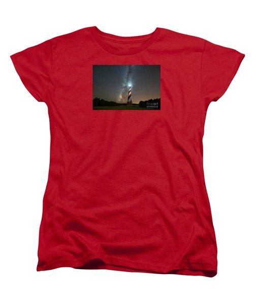 Cape Hatteras Lighthouse Milky Way Women's T-Shirt (Standard Cut) by Michael Ver Sprill