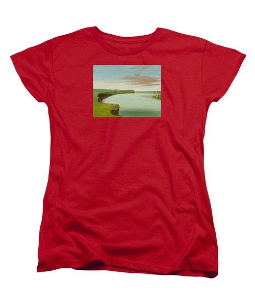 Distant View Of The Mandan Village Women's T-Shirt (Standard Cut) by George Catlin