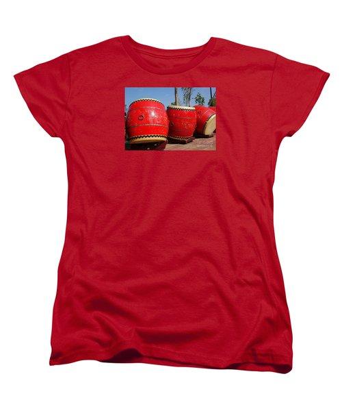 Large Chinese Drums Women's T-Shirt (Standard Cut) by Yali Shi