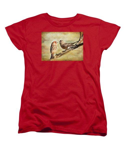 2 Little Love Birds Women's T-Shirt (Standard Cut) by Barbara Manis