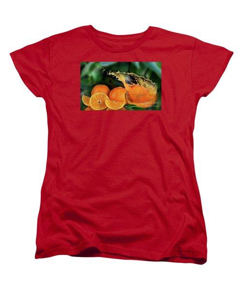 Orange Splash Women's T-Shirt (Standard Cut) by Shirley Mangini