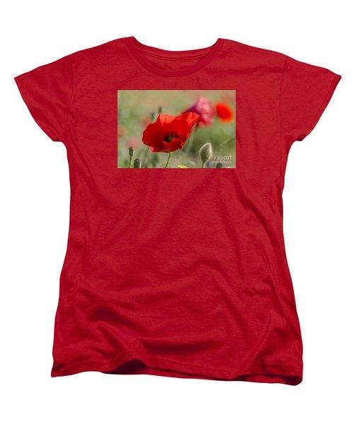 Poppies In Field In Spring Women's T-Shirt (Standard Cut) by Perry Van Munster