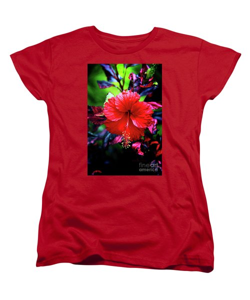 Red Hibiscus 2 Women's T-Shirt (Standard Cut) by Inspirational Photo Creations Audrey Woods