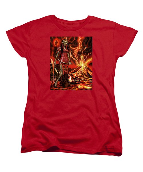 Women's T-Shirt (Standard Cut) featuring the painting The Goodess Pele Of Hawaii by James Christopher Hill