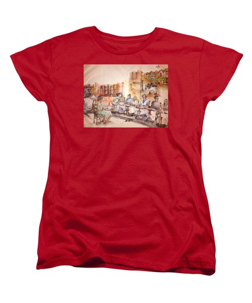 Women's T-Shirt (Standard Cut) featuring the painting Of Clogs And Windmills Album by Debbi Saccomanno Chan