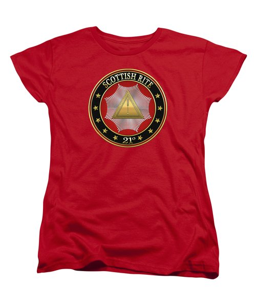 21st Degree - Noachite Or Prussian Knight Jewel On Red Leather Women's T-Shirt (Standard Cut) by Serge Averbukh