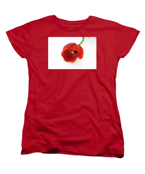 Red Tulip Women's T-Shirt (Standard Cut) by Elvira Ladocki