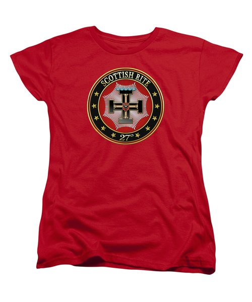 27th Degree - Knight Of The Sun Or Prince Adept Jewel On Red Leather Women's T-Shirt (Standard Cut)