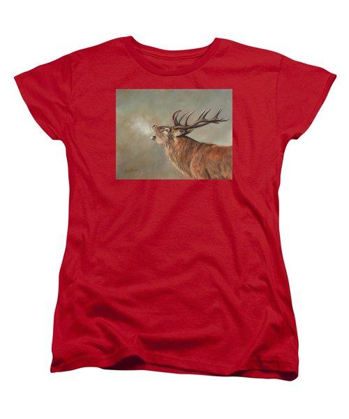 Red Deer Stag Women's T-Shirt (Standard Cut) by David Stribbling