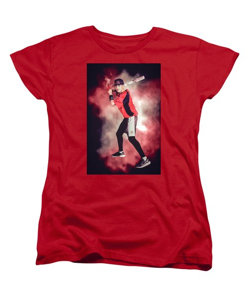 Women's T-Shirt (Standard Cut) featuring the digital art Southwest Aztecs Baseball Organization by Nicholas Grunas