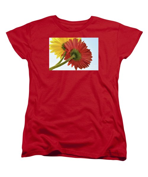 Red And Yellow Women's T-Shirt (Standard Cut) by Elvira Ladocki