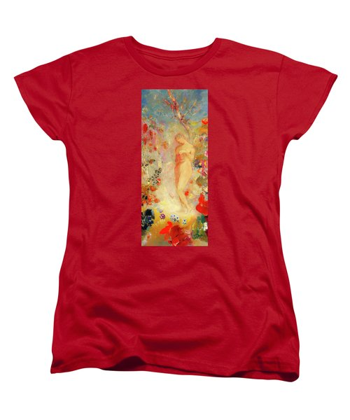 Women's T-Shirt (Standard Cut) featuring the painting Pandora by Odilon Redon
