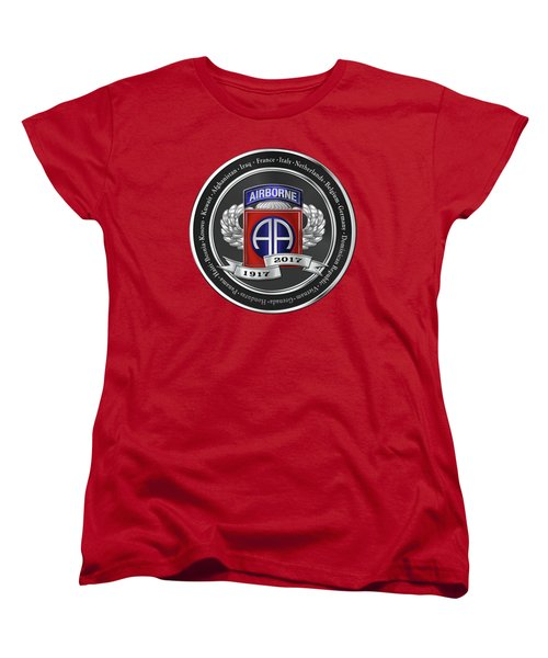 Women's T-Shirt (Standard Cut) featuring the digital art 82nd Airborne Division 100th Anniversary Medallion Over Red Velvet by Serge Averbukh