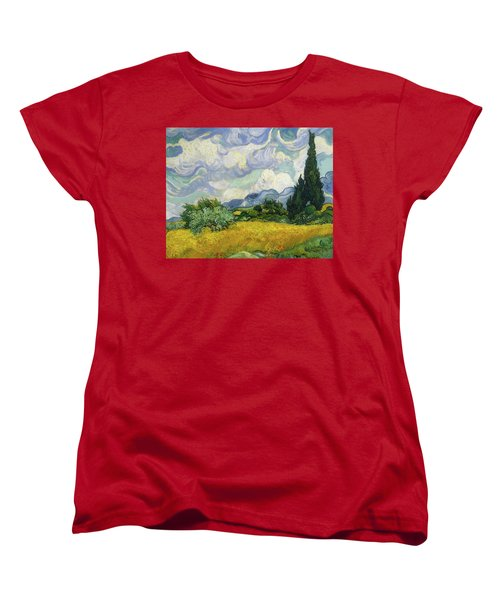 Women's T-Shirt (Standard Cut) featuring the painting Wheat Field With Cypresses by Vincent van Gogh