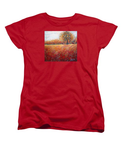 Women's T-Shirt (Standard Cut) featuring the painting A Beautiful Autumn Day by Natalie Holland