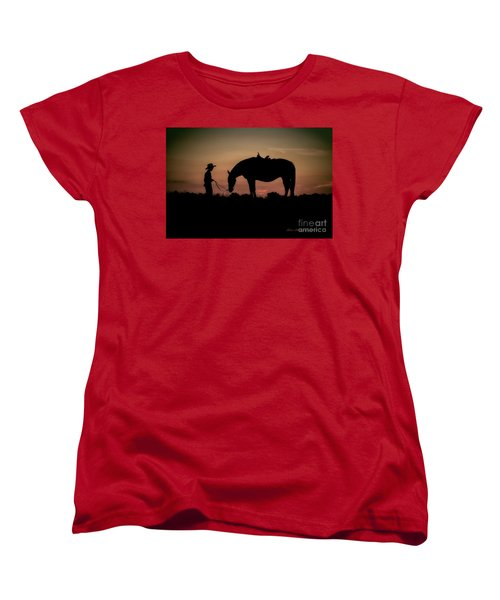 Women's T-Shirt (Standard Cut) featuring the photograph A Boy And His Horse by Linda Blair