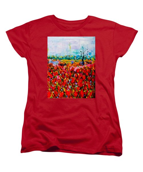 A Field Of Flowers # 2 Women's T-Shirt (Standard Cut) by Maxim Komissarchik