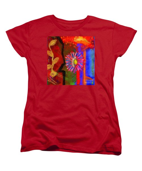 Women's T-Shirt (Standard Cut) featuring the painting A Flower For You by Angela L Walker