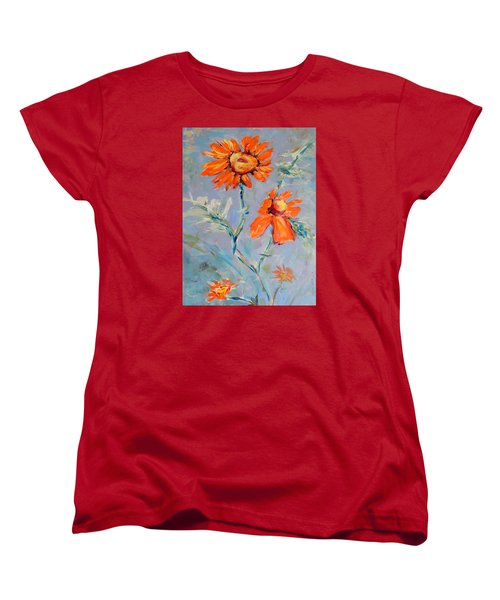 Women's T-Shirt (Standard Cut) featuring the painting A Glow by Mary Schiros